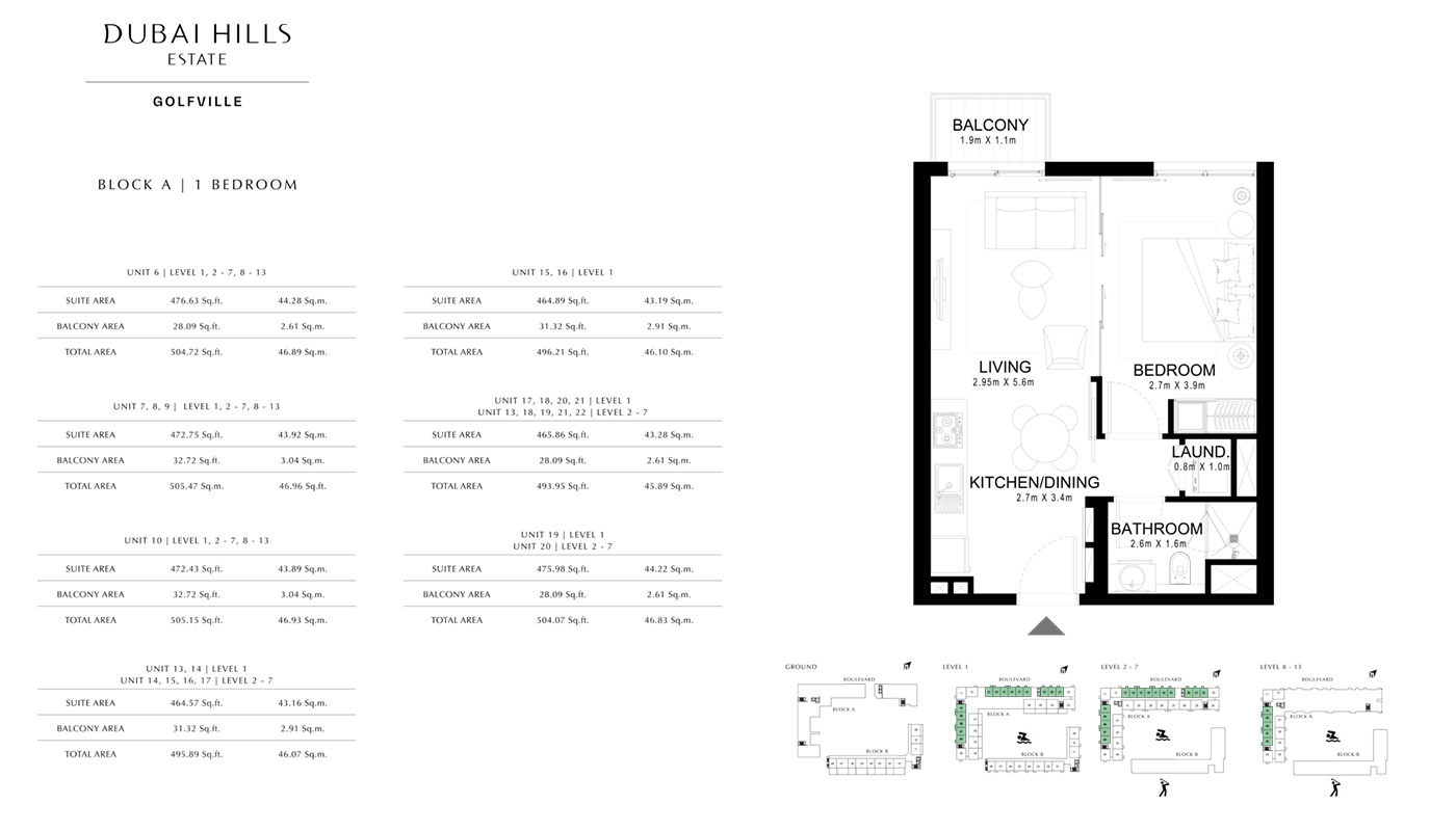 1 Bedroom  Type 1B-3M, Size 696 Sq Ft